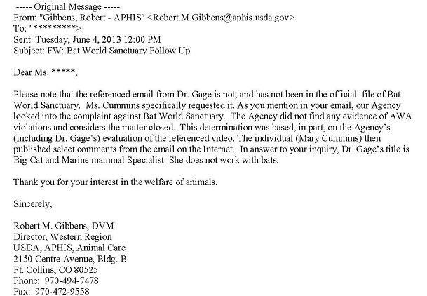 Robert Gibbens letter